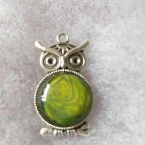 Jewelry - Silver and green owl pendant and necklace.